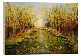 Wood print  Trees by the river - Theheartofart Gena