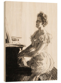 Wood print  At the piano - Anders Leonard Zorn