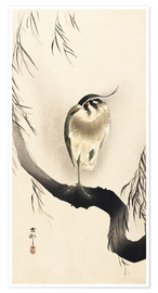 Premium poster Heron on a weeping willow