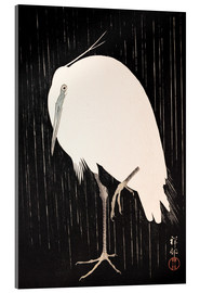 Acrylic print  White Crane in the rain - Ohara Koson