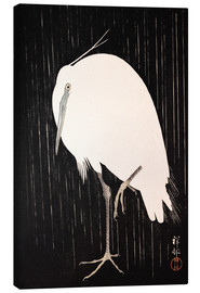 Canvas print  White Crane in the rain - Ohara Koson