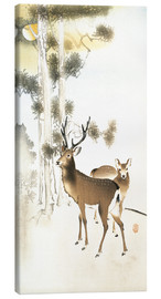 Canvas print  Deer and roe deer in winter - Ohara Koson