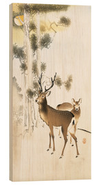 Wood print  Deer and roe deer in winter - Ohara Koson