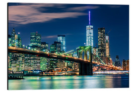 Aluminium print  Brooklyn Bridge by Night, New York - Sascha Kilmer