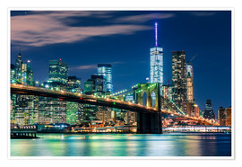 Premium poster  Brooklyn Bridge by Night, New York - Sascha Kilmer