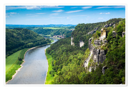 Premium poster  Bastei rocks in Saxon Switzerland close to Dresden - Reiner Würz