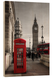 Wood  London telephone box and Big Ben - Filtergrafia