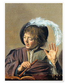 Premium poster Singing Boy with Flute