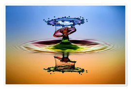 Premium poster Water droplets in rainbow colors