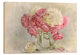 Wood print  roses and peonies - Lizzy Pe