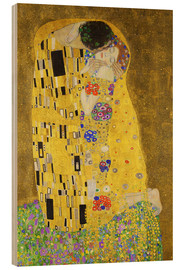 Wood print  The Kiss (portrait) - Gustav Klimt