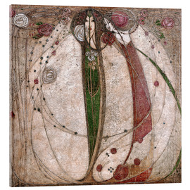 Acrylic print  The white rose and the red rose - Margaret MacDonald Mackintosh