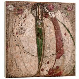 Wood print  The white rose and the red rose - Margaret MacDonald Mackintosh