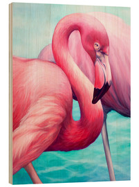 Wood print  Flamingo - Renate Berghaus