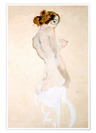 Premium poster Standing Nude with white shirt