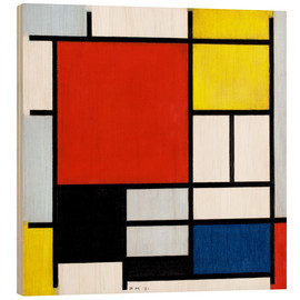 Wood print  Composition with red, yellow, blue and black - Piet Mondriaan