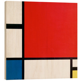 Wood print  Composition with Red, Yellow and Blue - Piet Mondriaan