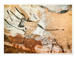 Premium poster Bull and cow with calf, Cave of Lascaux
