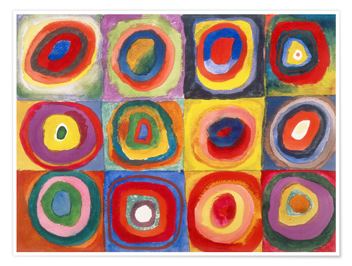 Premium poster Colour study - squares and concentric rings