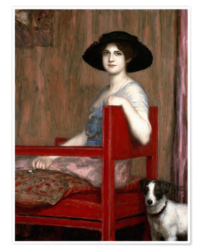 Premium poster Mary von Stuck in a red chair