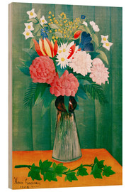 Wood print  Bouquet on the branch of ivy - Henri Rousseau