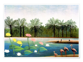 Poster  The Flamingos - Henri Rousseau