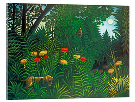 Acrylic print  Exotic landscape with tiger and hunters - Henri Rousseau