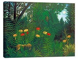 Canvas  Exotic landscape with tiger and hunters - Henri Rousseau