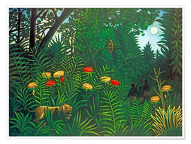 Poster  Exotic landscape with tiger and hunters - Henri Rousseau