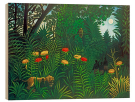 Wood print  Exotic landscape with tiger and hunters - Henri Rousseau