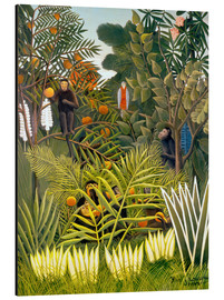 Aluminium print  Exotic landscape with monkeys and a parrot - Henri Rousseau