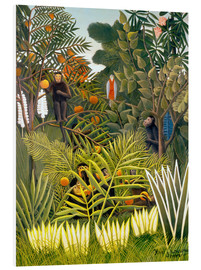 Foam board print  Exotic landscape with monkeys and a parrot - Henri Rousseau