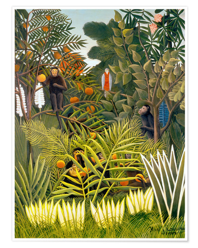 Premium poster Exotic landscape with monkeys and a parrot