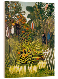Wood print  Exotic landscape with monkeys and a parrot - Henri Rousseau
