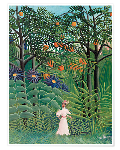 Premium poster Woman in an exotic forest