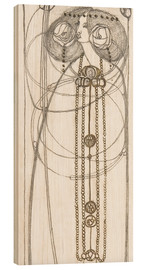 Wood print  Drawing for a New Year's Card - Charles Rennie Mackintosh