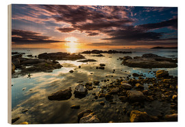Wood print  Sunrise Lake Malawi Africa - Thomas Hagenau