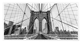 Premium poster NYC: Brooklyn Bridge (monochrome)