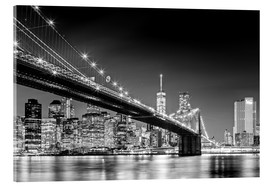 Acrylic print  Brooklyn Bridge with Manhattan Skyline (monochrome) - Sascha Kilmer