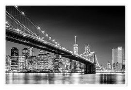 Premium poster  Brooklyn Bridge with Manhattan Skyline (monochrome) - Sascha Kilmer