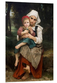Foam board print  Breton Brother and Sister - William Adolphe Bouguereau