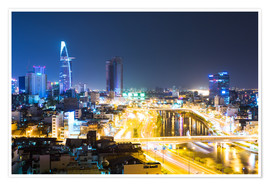 Premium poster  Ho Chi Minh city ( Saigon ) skyline at night, Vietnam - Matteo Colombo