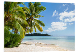 Foam board print  Beach with palm trees and turquoise ocean in Tahiti - Jan Christopher Becke