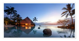 Premium poster Infiniti pool by the sea in Tahiti, French Polynesia