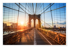 Premium poster Brooklyn Bridge at sunrise, New York
