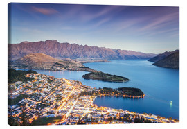 Canvas print  Queenstown illuminated at dusk and lake Wakatipu, Otago, New Zealand - Matteo Colombo