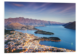 Foam board print  Queenstown illuminated at dusk and lake Wakatipu, Otago, New Zealand - Matteo Colombo