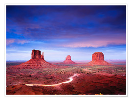 Premium poster Panorama of Monument Valley at dusk after sunset, Utah, USA