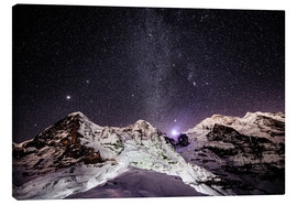 Canvas print  Eiger, Monch and Jungfrau mountain peaks at night - Peter Wey