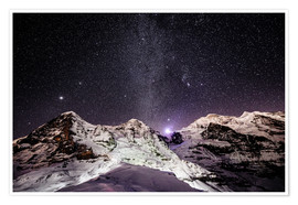 Premium poster Eiger, Monch and Jungfrau mountain peaks at night